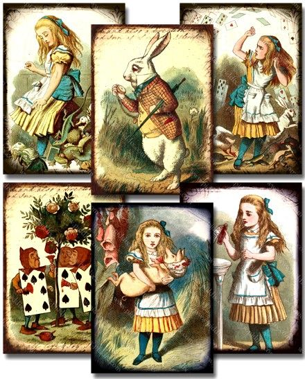 Scans of amazing 1890s engravings from an original $ 7000 Alice in Wonderland book. This edition is the only one that Sir John Tenniel (the original Alice in Wonderland engraver) colored himself. Printables 778 by piddix.