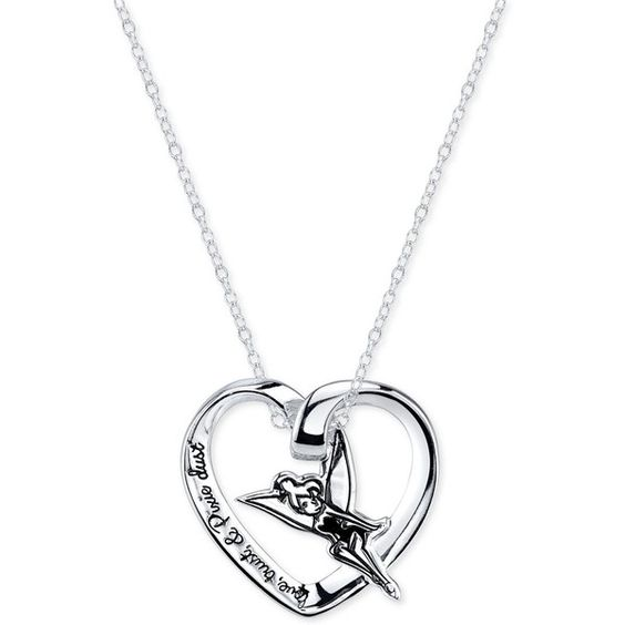 Disney Engraved Tinker Bell Pendant Necklace in Sterling Silver ($31) ❤ liked on Polyvore featuring jewelry, necklaces, no color, sterling silver pendant, heart pendant, heart shaped pendant necklace, sterling silver necklace and sterling silver engravable pendant