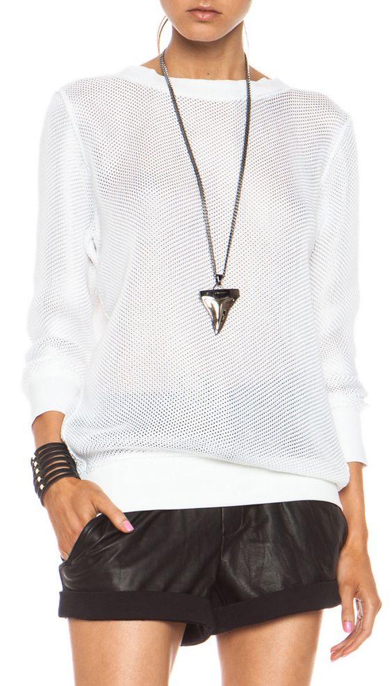 HELMUT LANG - Space Knit Sweatshirt in Optic White