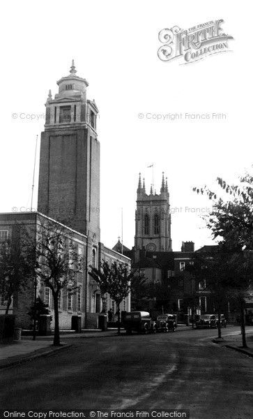 Beckenham, Town Hall and St George's Church 1947