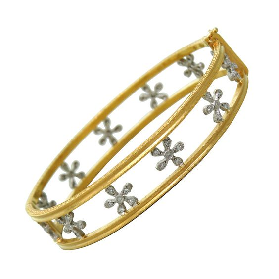 Cathy Waterman Gold Platinum Diamond Daisy Flower Bangle Bracelet | From a unique collection of vintage more bracelets at https://www.1stdibs.com/jewelry/bracelets/more-bracelets/
