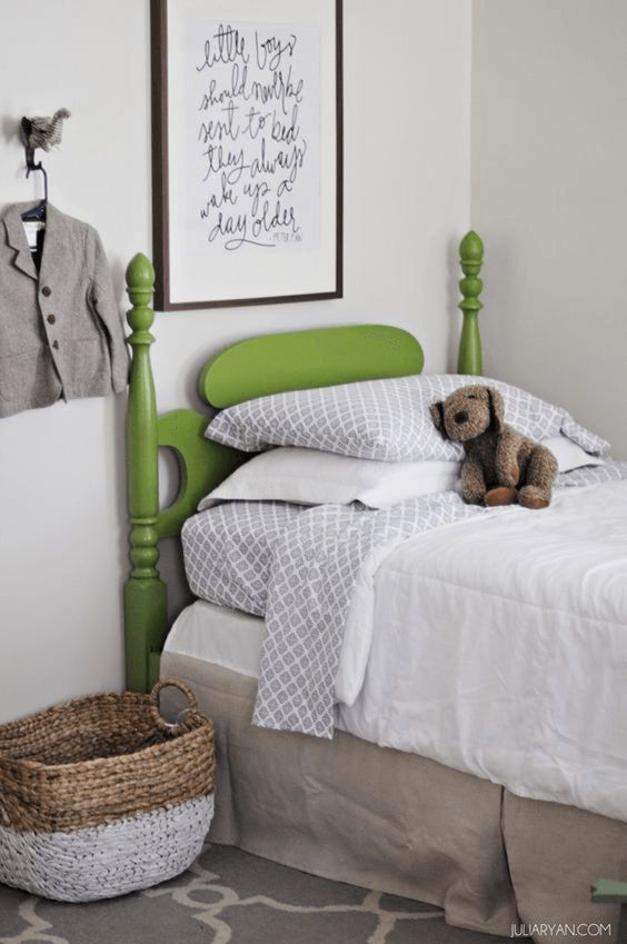 boys bedroom with lime green bed, pantone greenery, lime green, spring green, apple green: