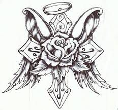 Tattoo coloring page cross wings halo and rose for Coloring pages of crosses and roses