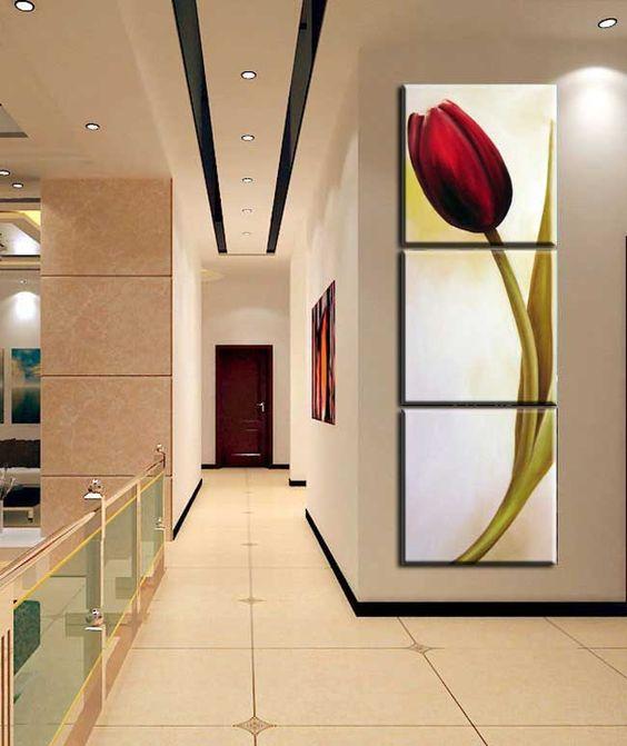 Conjunto 3 quadros 30x90cm pintura tela flores papoulas - Telas decorativas para paredes ...