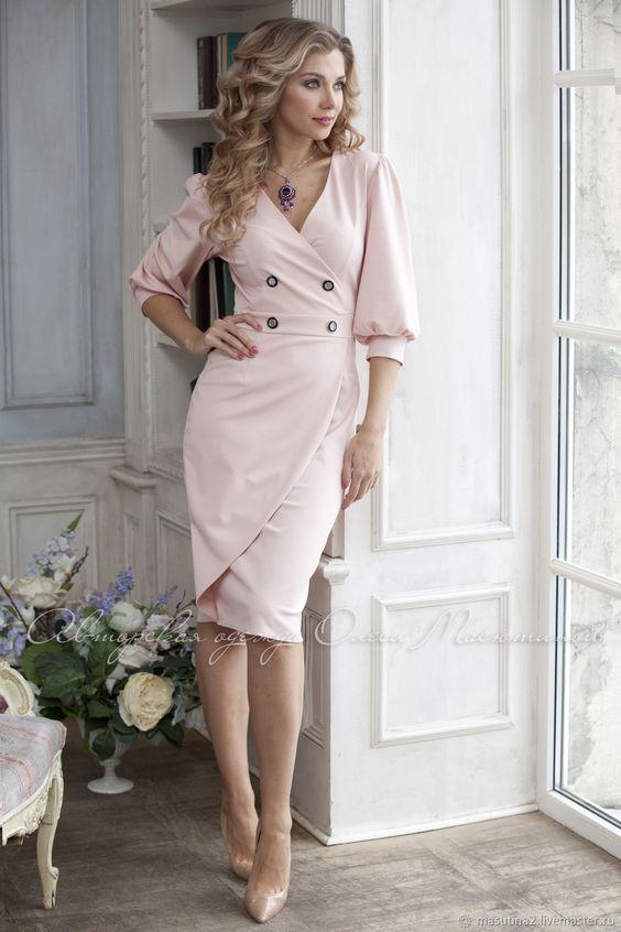"""Купить Платье """"Манящая женственность"""" - деловой стиль, Розовое платье, деловое платье, бледно-розовый"""