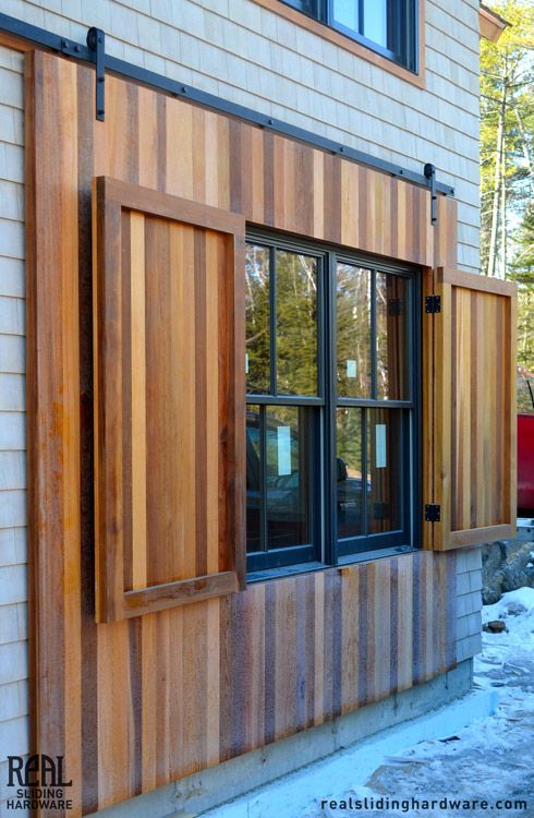 Barn shutters wood that slide for windows google search - Exterior wooden shutters for windows ...