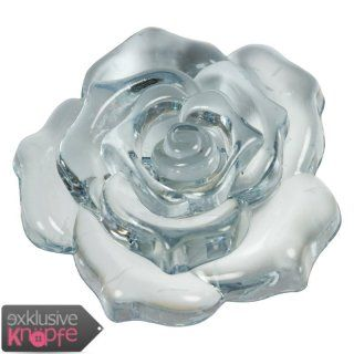 exklusive-knoepfe.de - Rosenblüte durchsichtig - ein perfektes Schmuckstück im hellblaunen Ton