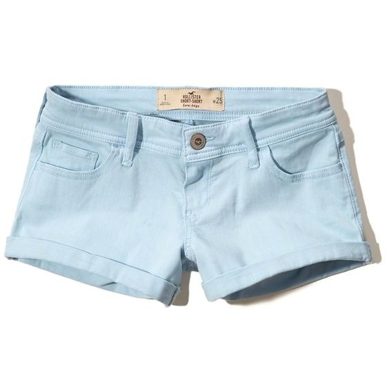 Hollister Low Rise Twill Short-Shorts (£14) ❤ liked on Polyvore featuring shorts, light blue, low rise shorts, hot shorts, short shorts, light blue shorts and mini shorts