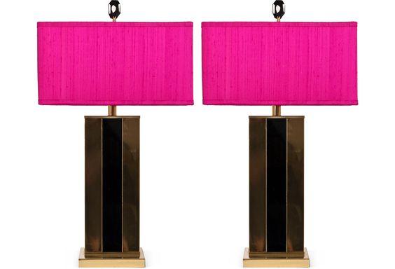 One Kings Lane - Hillary Thomas Designs - 1970s Brass Lamps, Pair