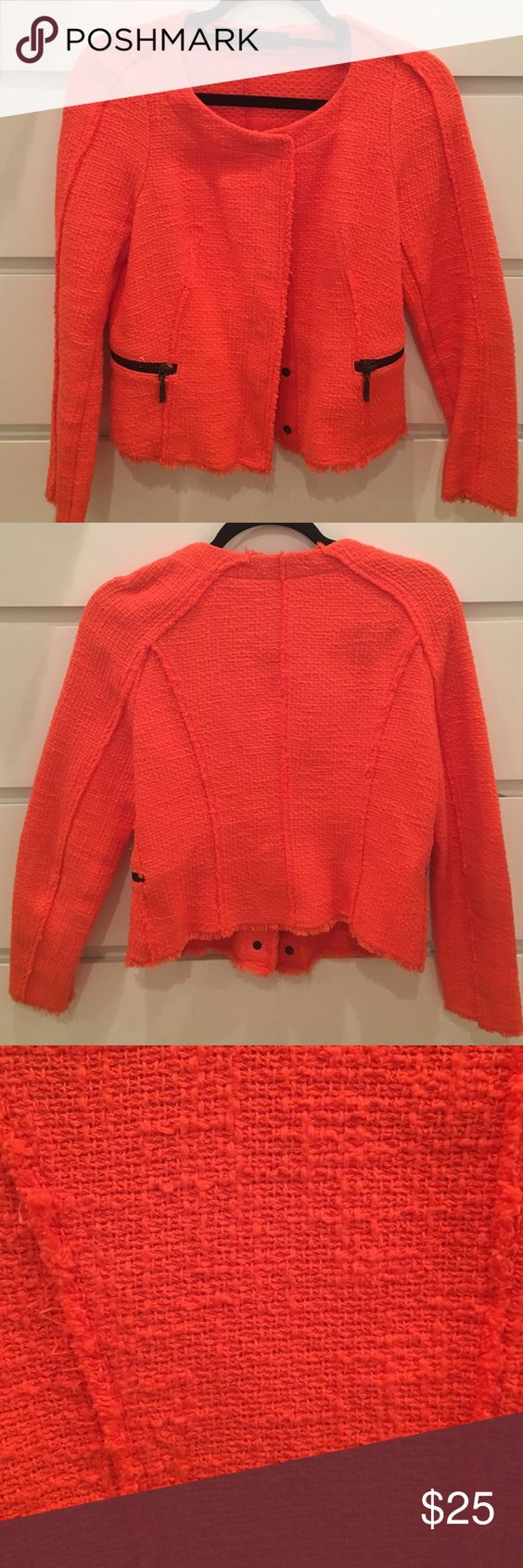 Orange blazer with black zippers Bright orange tweed blazer with black zippers and buttons. Modern cut. Zara Jackets & Coats Blazers