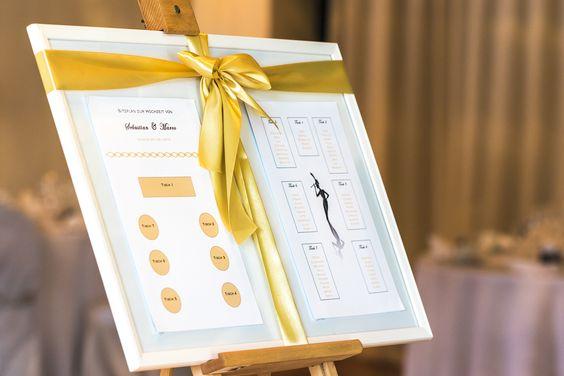 Tischplan zur Hochzeit am 25. Juni in der Capitol Yard Golf Lounge.