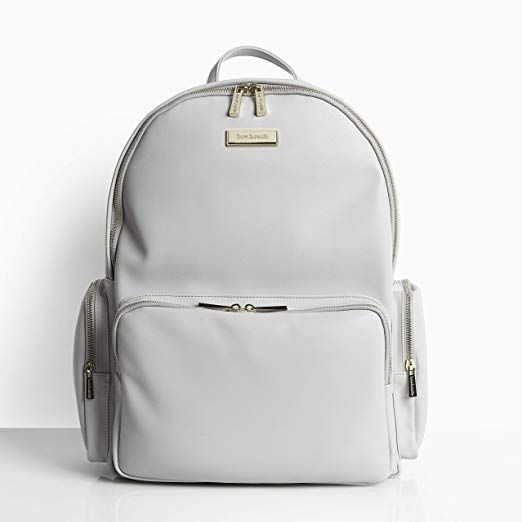 Bow Rattle Luxury Jenny Baby Diaper Nappy Bag Backpack In Grey Faux Leather Super Stylish Nappy Bag Backpack Leather Changing Bag Leather Diaper Backpack