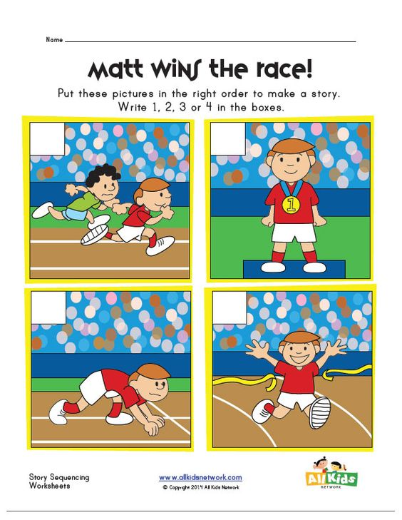sequencing worksheet - running a race | Writing