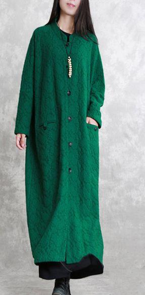 Fashion-green-maxi-coat-casual-Stand-pockets-Wool-Coat-women-long-sleeve-baggy-coat