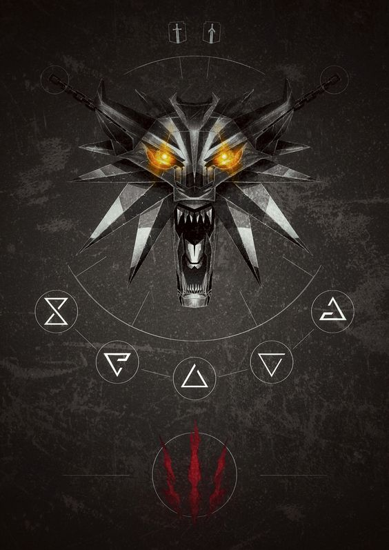 the witcher 3 wild hunt inspired poster with the wolf