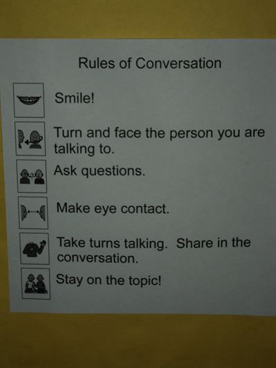 Rules to go with the conversation starters.