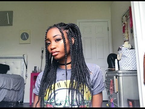 Quick Easy Box Braid Hairstyles Youtube Naturalhairstyles Braids For Black Hair Box Braids Hairstyles Braided Hairstyles Easy