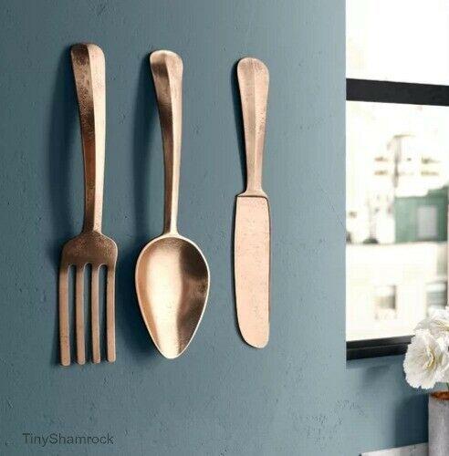 Giant Fork Knife Spoon Wall Art 3 Pc Rose Gold Aluminum Utensils Kitchen Decor Tinyshamrockusa M Kitchen Decor Ebay Gold Metal Wall Art Carved Wood Wall Art