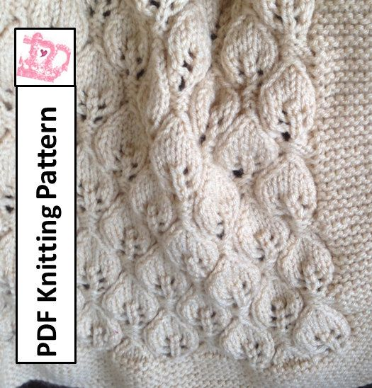 Knitting Pattern Baby Blanket Leaf Pattern : Baby Blanket Knitting Pattern, PDF KNITTING PATTERN -- Leaves Baby Blanket ...