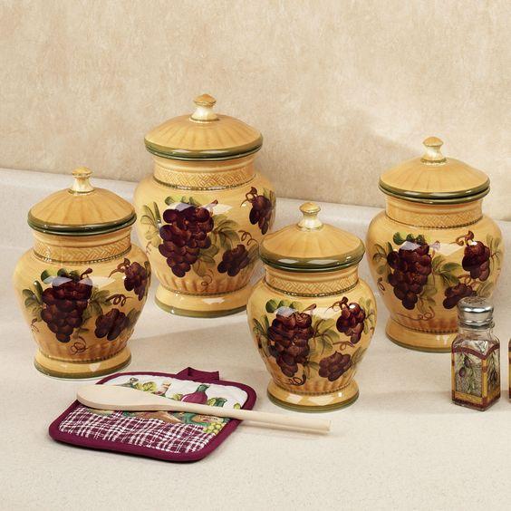 Grape Decor: Handpainted Grapes Kitchen Canister Set
