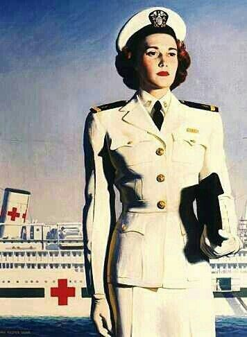 This is from a U.S. Navy recruiting poster from World War II showing a Navy Nurse with a hospital ship. G;)