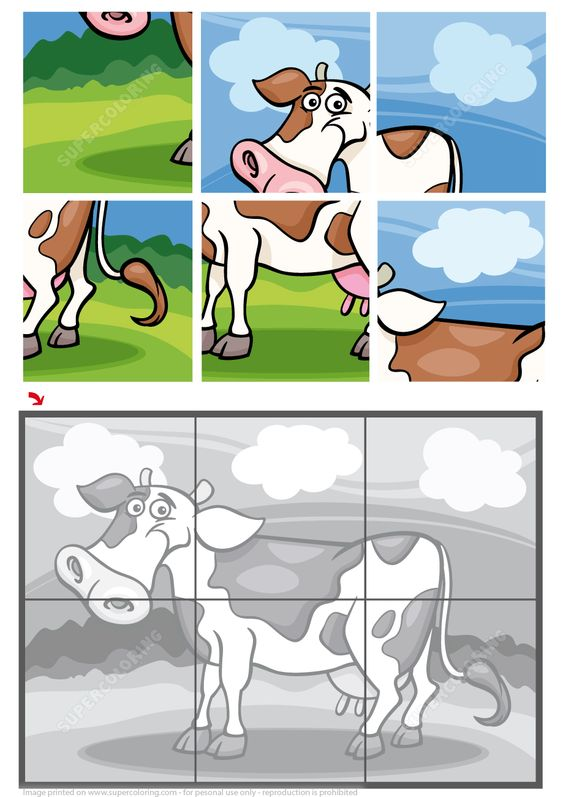 Cow 6 Pieces Jigsaw Puzzle | Free Printable Puzzle Games