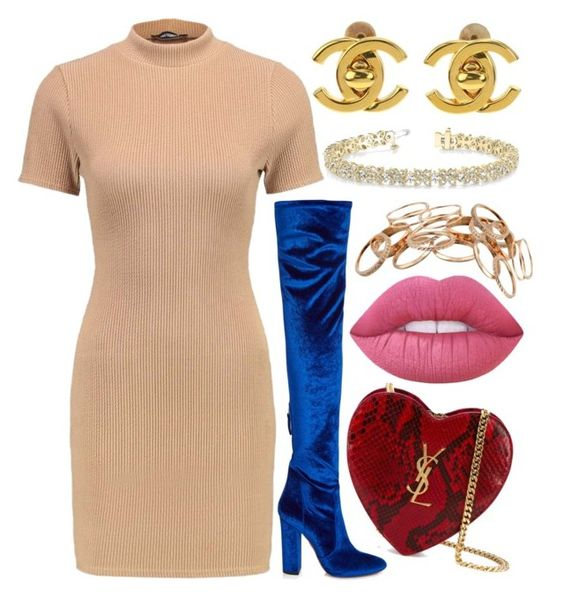 """""""Untitled #486"""" by arianasinger ❤ liked on Polyvore featuring Aquazzura, Yves Saint Laurent, Chanel, Lime Crime, Allurez and Kendra Scott"""