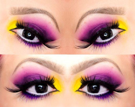 Pretty purple and yellow eye makeup look :)