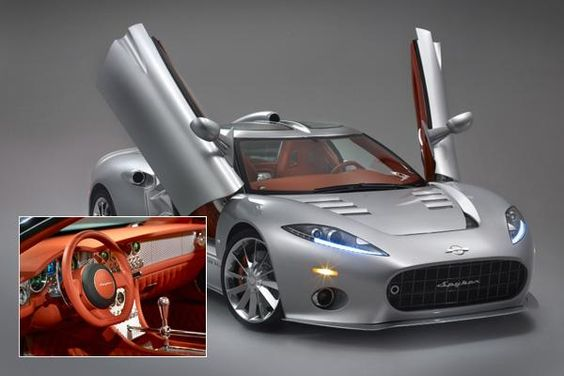 Spyker C8 Aileron    Price: approx. $219,190  0-62 MPH: 4.5 seconds  Top Speed: 187 MPH    This mid-engine two-door coupe from Spyker, a Dutch manufacturer with an avation heritage, has a full contemporary aluminum body with dramatic upward-opening doors, a spacious cabin, and a retro-styled interior, and a high-end Kharma sound system.