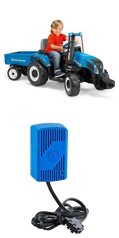 1970 Now 11746 Peg Perego New Holland Tractor Battery Powered Riding Toy Blue 12 Volt Buy It Now Only New Holland Tractor Ride On Toys Tractor Battery