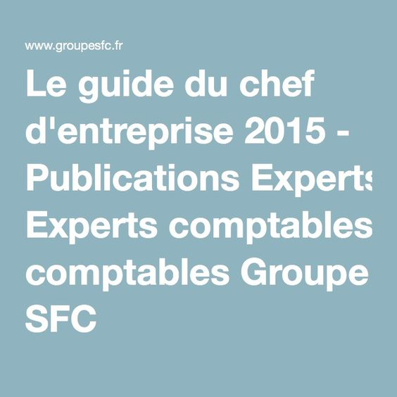 Le guide du chef d'entreprise 2015 - Publications Experts comptables Groupe SFC