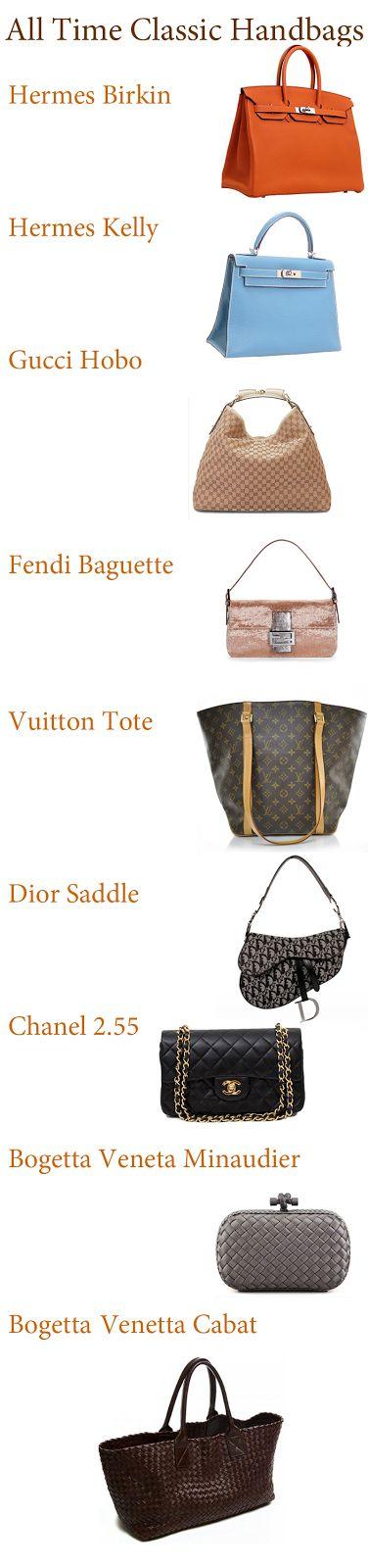 All Time Classic Handbags:  #handbags #designer #classic #style