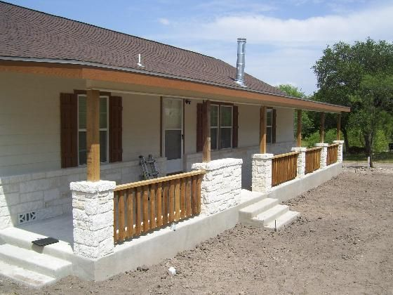 Rock front porch on a modular home nice decor ideas for House with wrap around porch for sale
