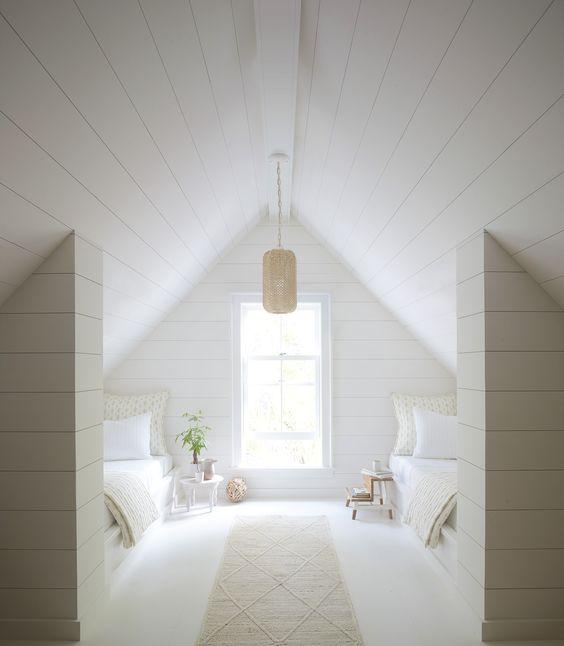Summer white - attic room - pendant - shiplap - white room