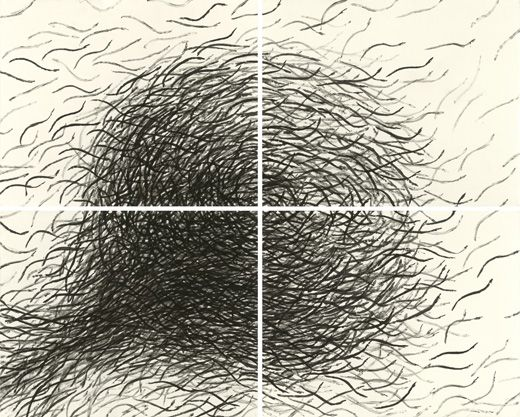 © James Prosek, Eel Prints, 2012, ink on paper, four panels, courtesy of the artist and Waqas Wajahat, New York