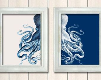 Set of 2 Octopus Prints Blue And White, Nautical Print Beach Decor bathroom Decor Beach House Decor Octopus Illustration Digital Painting