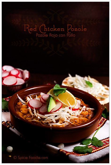 Red Chicken Pozole, A delicious Mexican dish for celebrating special occasions.