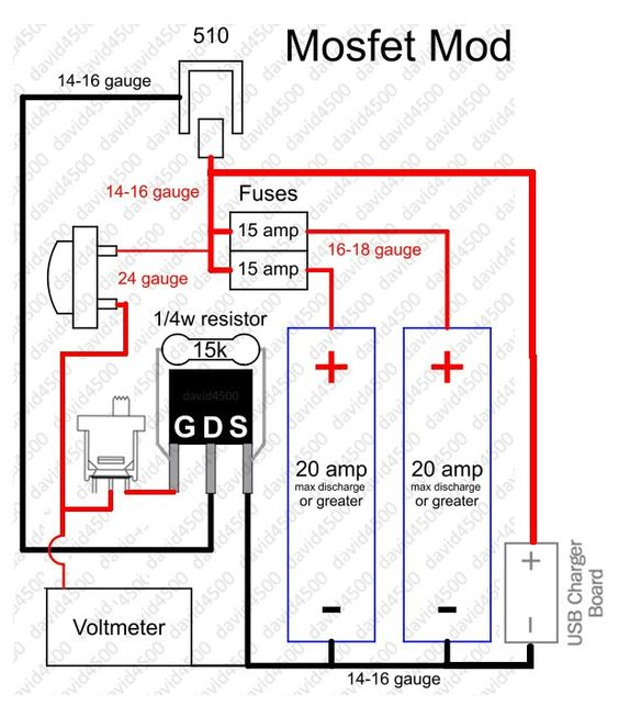 mosfet mod, with volt meter. | mods and vape gear | pinterest boat lift motor with capacitor forward and reverse wiring diagram series box mod with voltmeter and potentiometer wiring diagram