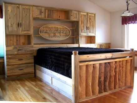 Beetle Kill Pine & Beaver Chewed Log Storage Cabinet Bed