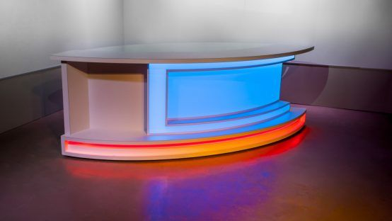 New Broadcast News Anchor Desk For Sale Tv Set Designs In 2020 Tv Set Design Sales Desk Broadcast News