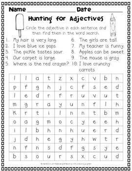 ... worksheet for hunting nouns verbs huntingfrench exercisesadjective