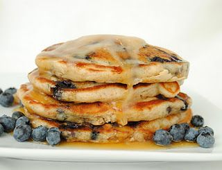 Blueberry Banana Pancakes with Maple Butter