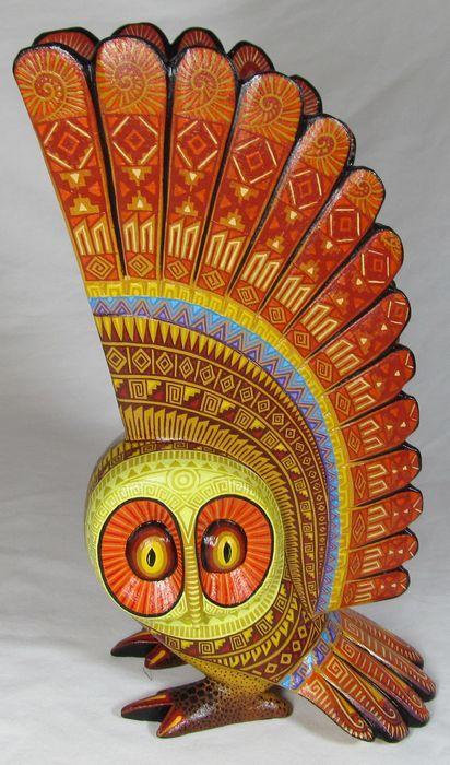 Owl oaxacan wood carving ceramic animals pinterest