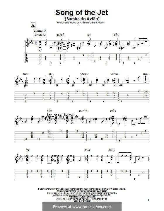 Song Of The Jet Samba Do Aviao Songs Samba Tablature