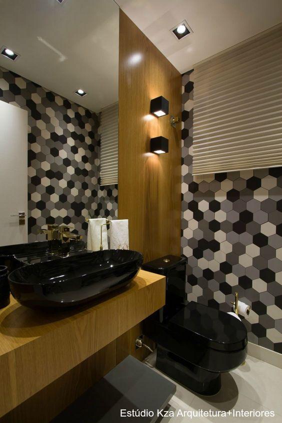 Banheiro, vaso sanitário preto, cuba deca preta , revestimento mosarte #estúd -> Decoracao Banheiro Vaso Sanitario Preto