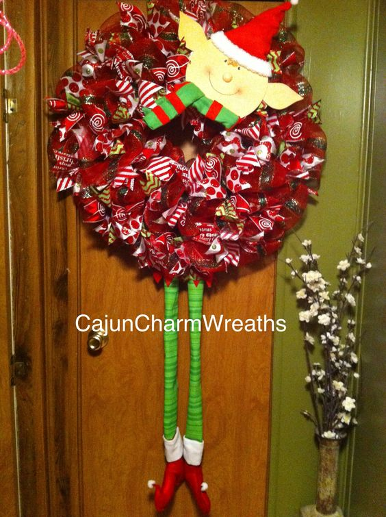 Christmas Long-legged Elf Ribbon wreath