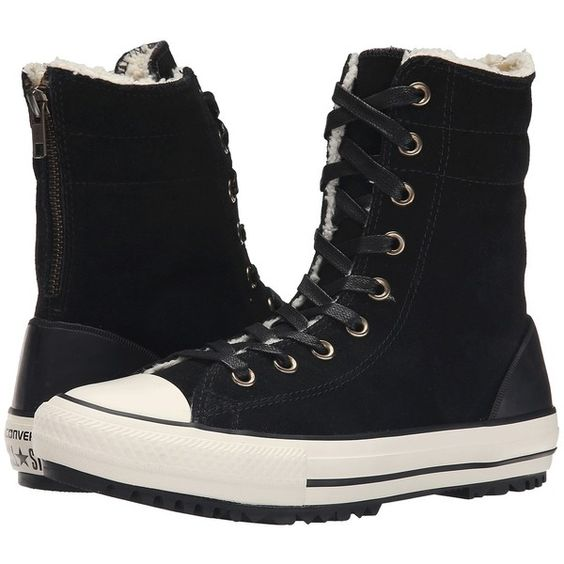 Converse Chuck Taylor All Star Hi-Rise Boot Women's Classic Shoes ($85) ❤ liked on Polyvore featuring shoes, laced up shoes, lace up shoes, zipper shoes, fur shoes and zip shoes