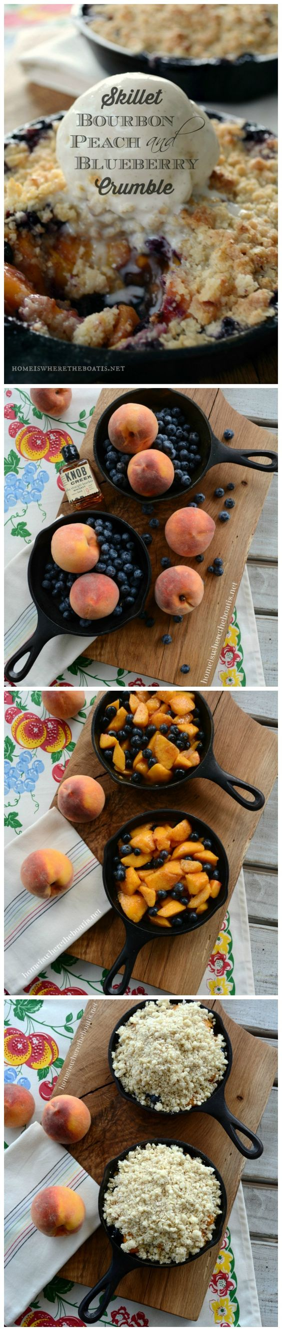 Skillet Bourbon, Peach and Blueberry Crumble! #dessert #summer