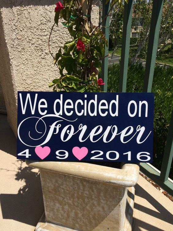 We Decided on Forever Save the Date Sign for Engagement Photos Engagement Sign Personalized Wedding Signs Save the Date Photo Prop