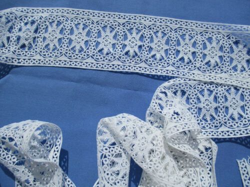 coton blanc 2 m x 3,5 cm Entre-deux dentelle Schiffli ancienne 1900